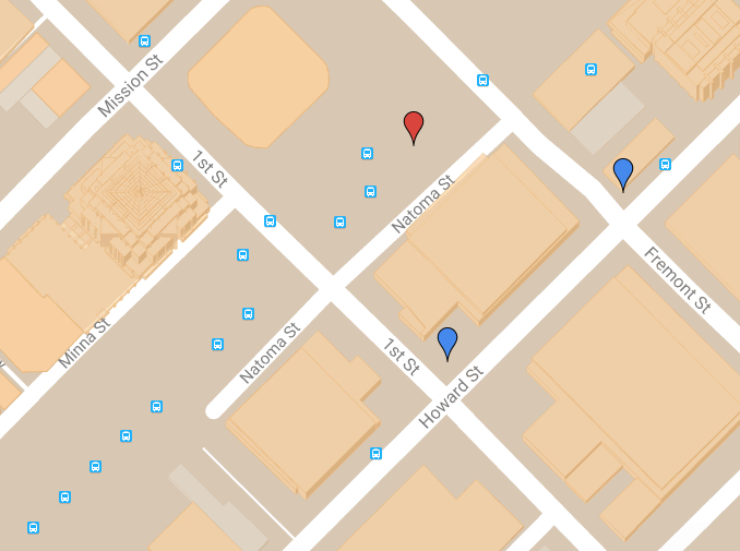 The former sites of Joshua Norton's receiving and warehousing operation (blue pins) relative to the new Transbay Transit Center (red pin). For a full interactive map of 47 sites that are historically associated with Emperor Norton and 14 sites of Emperor-inspired public art, see our dynamically updated  Emperor Norton Map of the World .