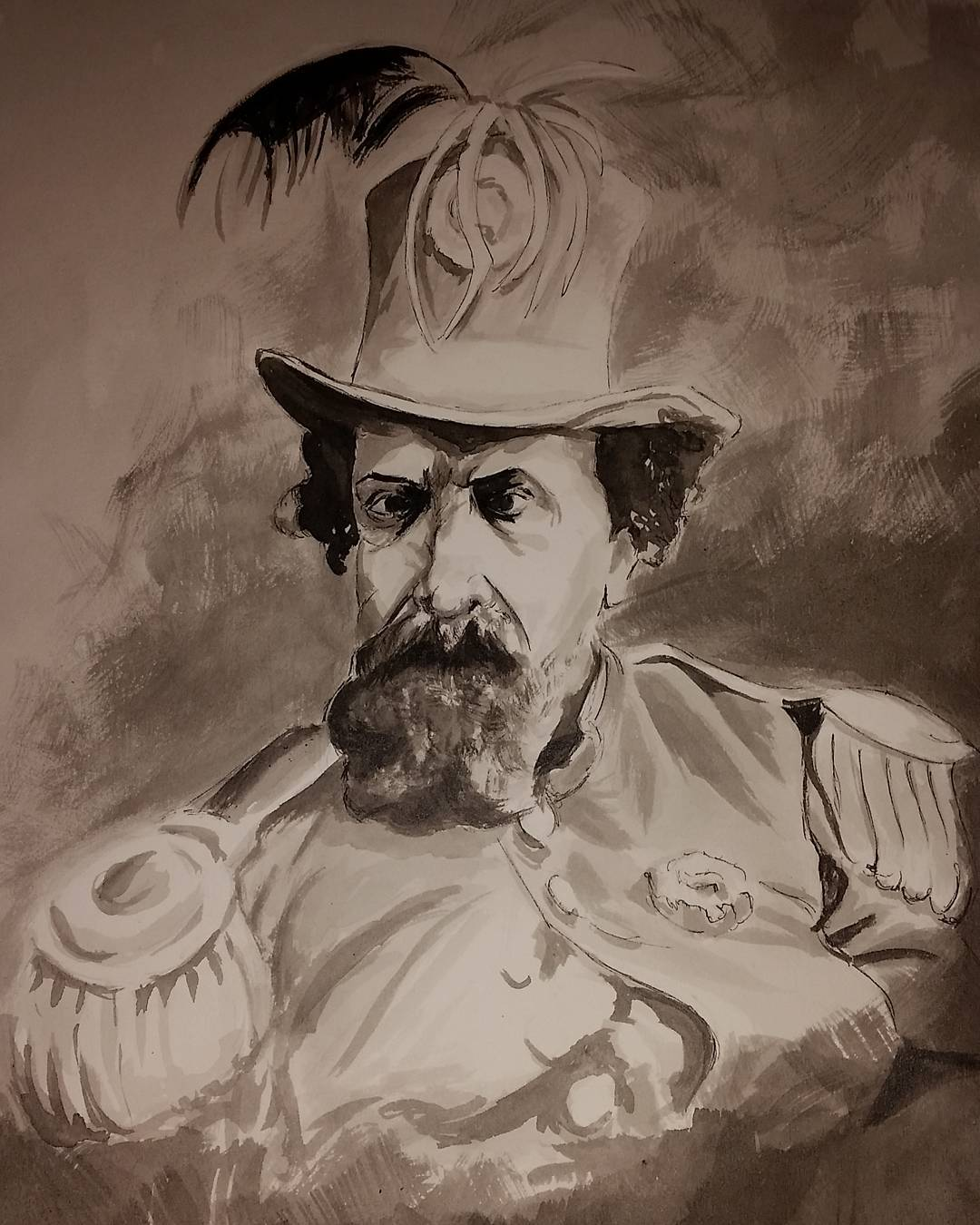 """""""His Imperial Majesty, Norton I"""" (2016), by Anna Papkov (b.1981).  Ink on watercolor paper, 14"""" x 20"""". ©2016 Anna Papkov. Source:  Anna Papkov ."""