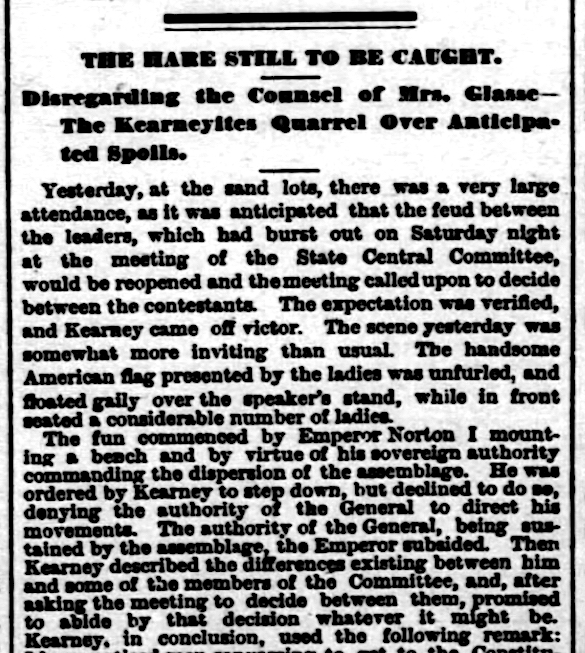 """Introduction to article, """"The Hare Still to be Caught,""""  San Francisco Examiner , 30 April 1878, p.3.  For a pdf of the full article, click  here . Source: Newspapers.com"""