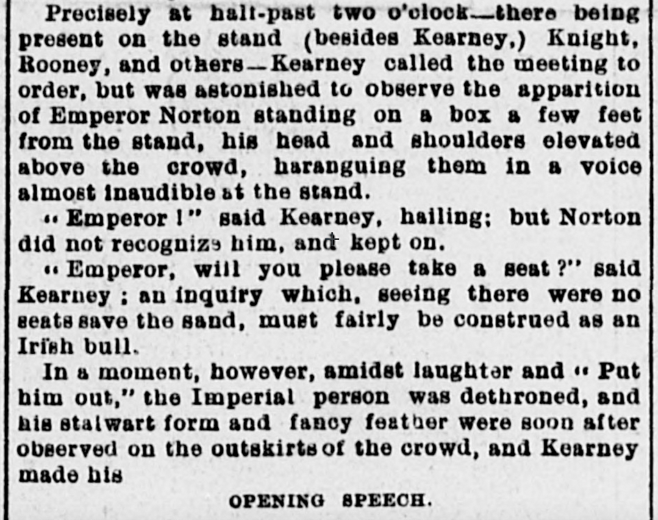 """Excerpt from article, """"Kearney Catching It,"""" Daily Alta California, 29 April 1878, p.1.  See full article in the  California Daily Newspaper Collection ."""