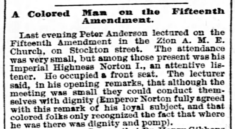 """Introduction to """"A Colored Man on the Fifteenth Amendment,"""" article in the  San Francisco Examiner , 16 November 1869, p 3.  Full article  here . Source: Newspapers.com"""