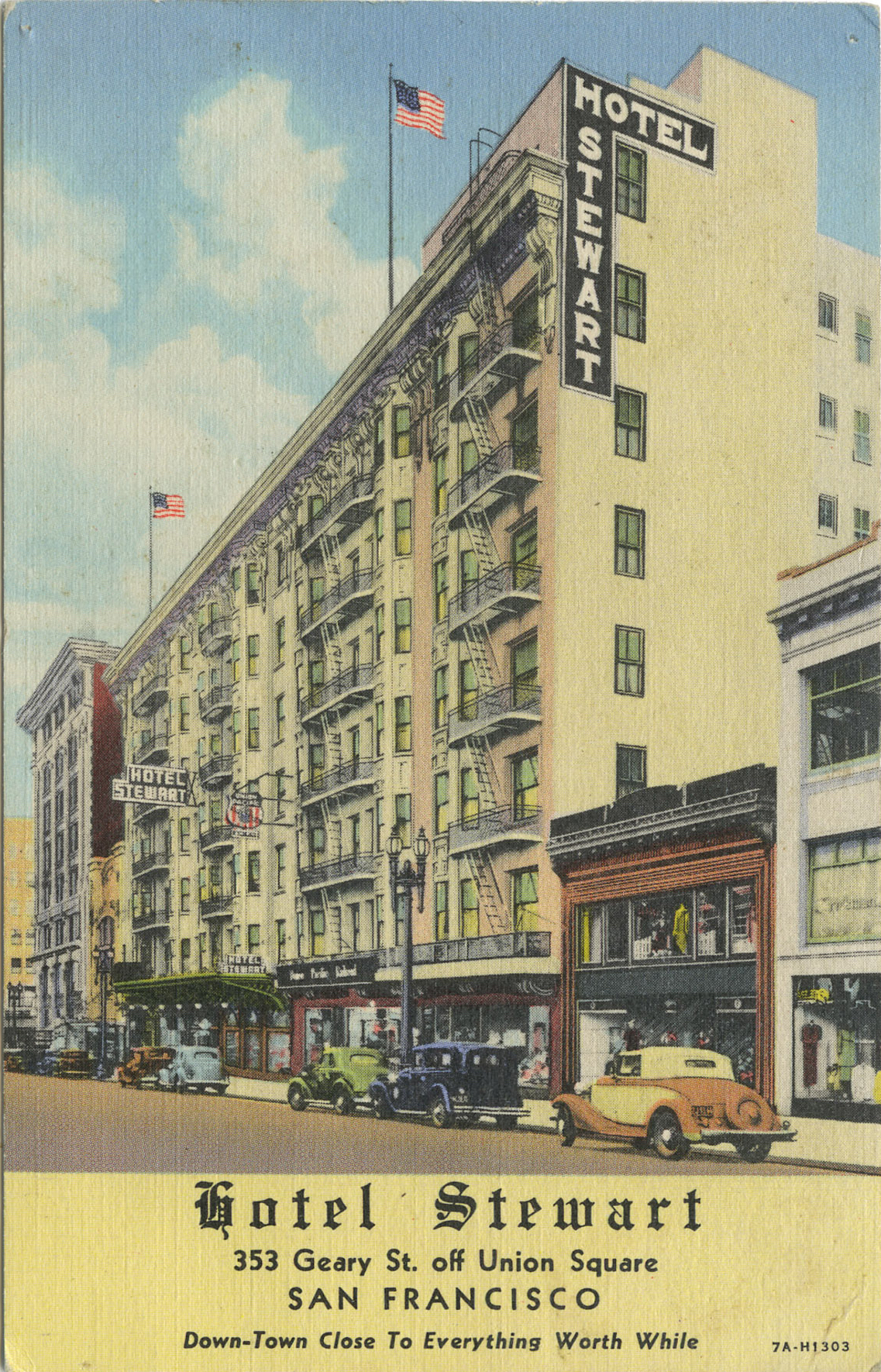 Postcard for the Hotel Stewart, San Francisco, 1930s–40s.  Source:  Tattered and Lost Ephemera .