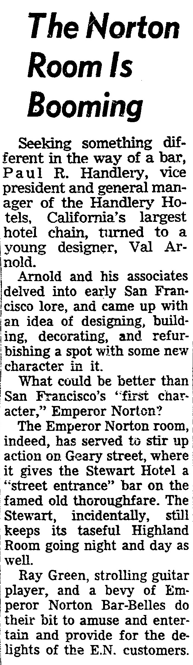 """""""The Norton Room Is Booming,""""   San Francisco Chronicle , 12 August 1961, p.11. Full page  here . Source: San Francisco Public Library."""