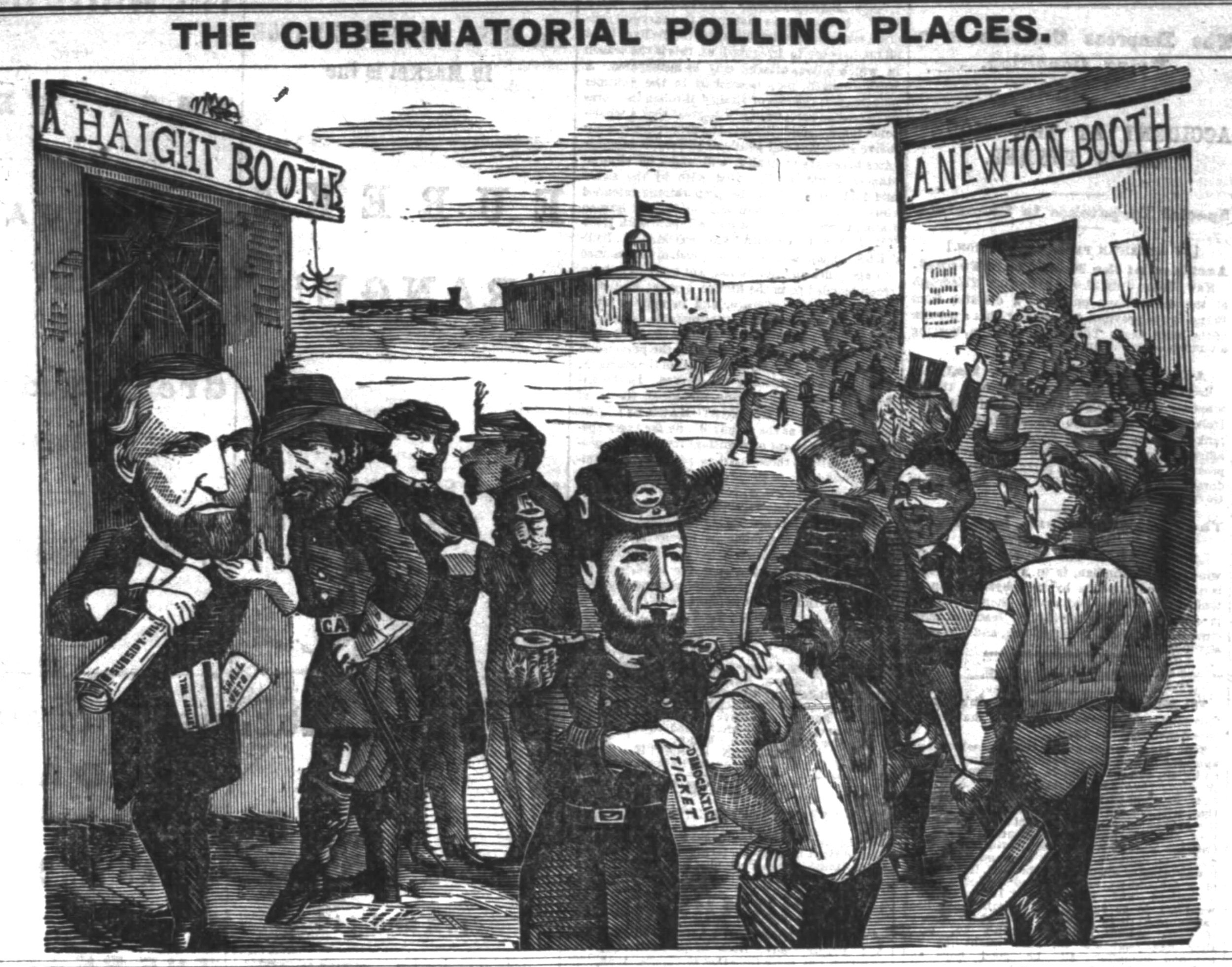 """The Gubernatorial Polling Places,"" comic illustrating front-page feature in the  San Francisco Chronicle , 23 July 1871.  For full front page, click  here . Source: Newspapers.com"
