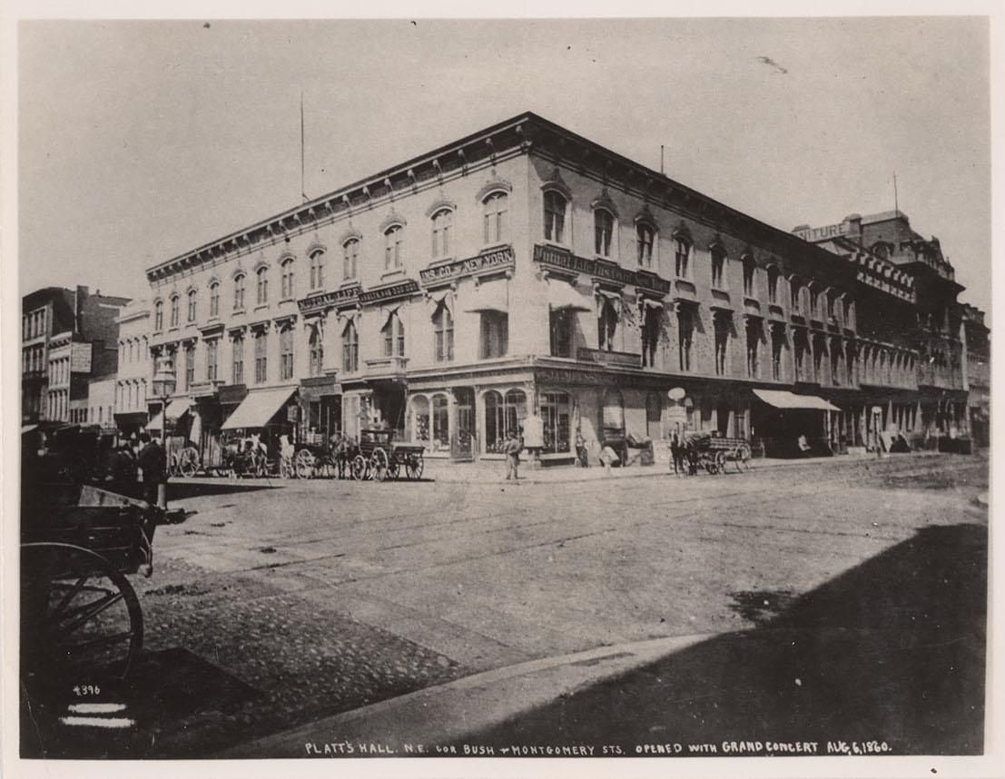 Platt's Music Hall, northeast corner of Montgomery and Bush Streets, San Francisco, 1870s.  Photograph by T.E. Hecht. Collection of the Bancroft Library, UC Berkeley. Source:  Online Archive of California .