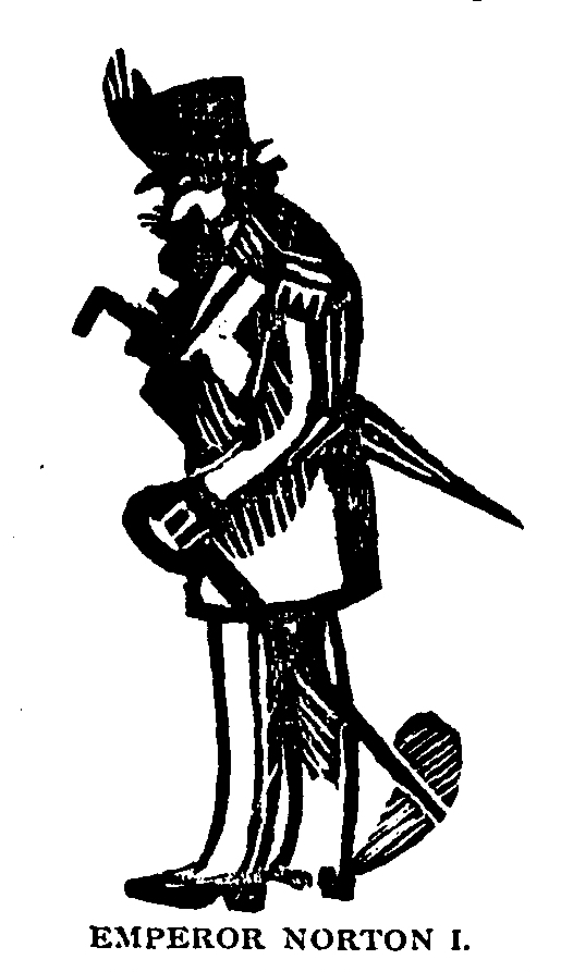 """""""Emperor Norton I,"""" woodcut illustration for article, """"Emperor Norton I"""" (Sketches of California series), in  The Illini , volume 9, number 6, March 1880, p. 174.  Source:  Illinois Digital Newspaper Collections ."""