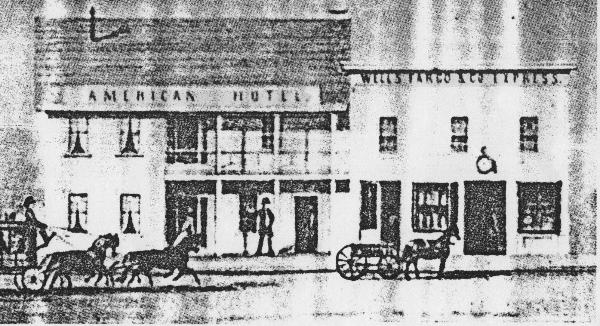 "American Hotel, Petaluma, Calif., c.1863–73.  Source: Bill Hammerman,  ""The American Hotel,""  Our River Town (blog), 4 December 2013."