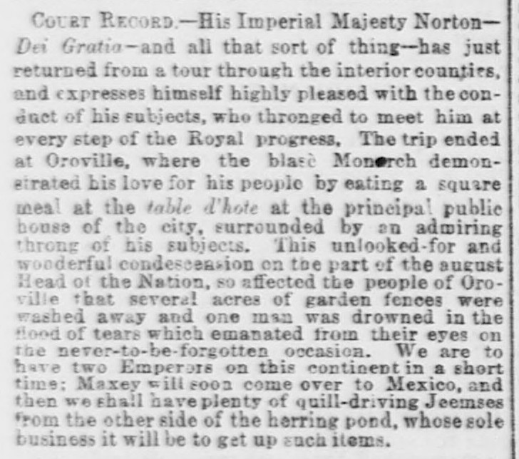 """Court Record"" in City Items,  Daily Alta California , 9 March 1864 , p.1. Source:  California Digital Newspaper Collection ."