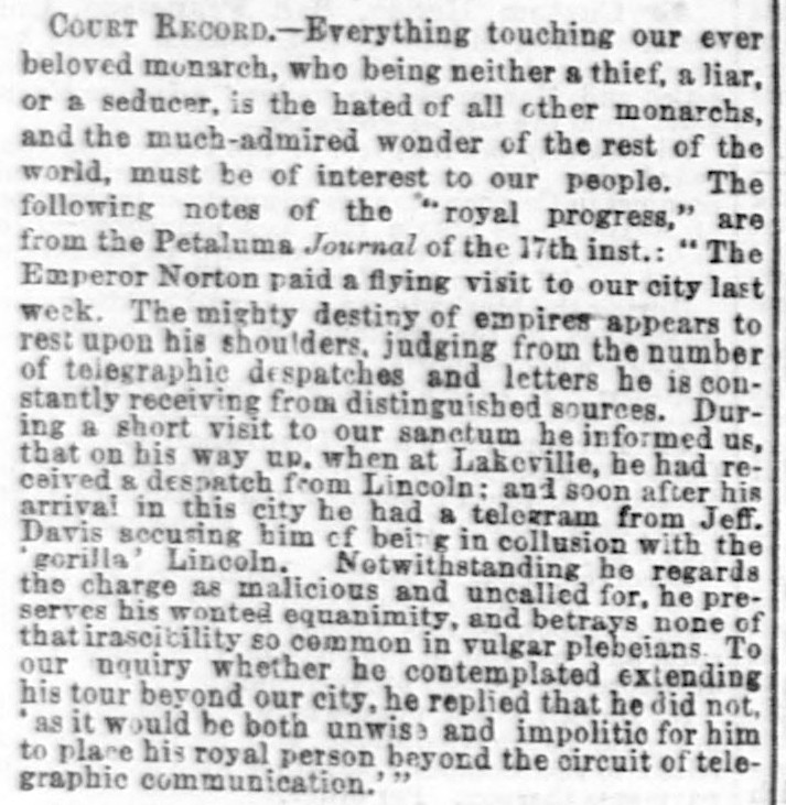 """Court Record"" in City Items,  Daily Alta California , 23 March 1864 , p.1. Source:  California Digital Newspaper Collection ."