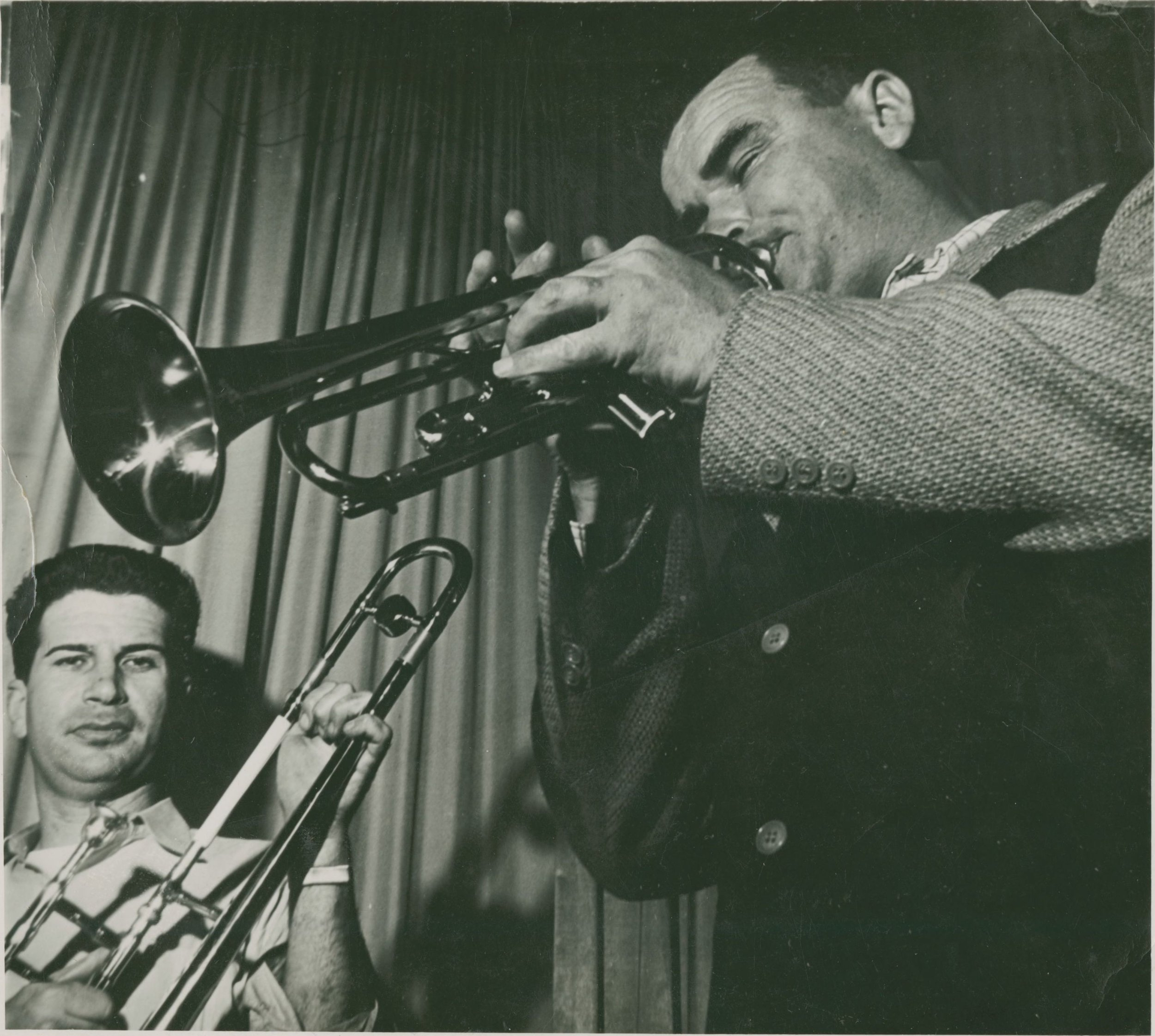 Lu Watters plays as Turk Murphy looks on at Hambone Kelly's, 1947.  San Francisco Traditional Jazz Foundation Collection. Source:  Stanford