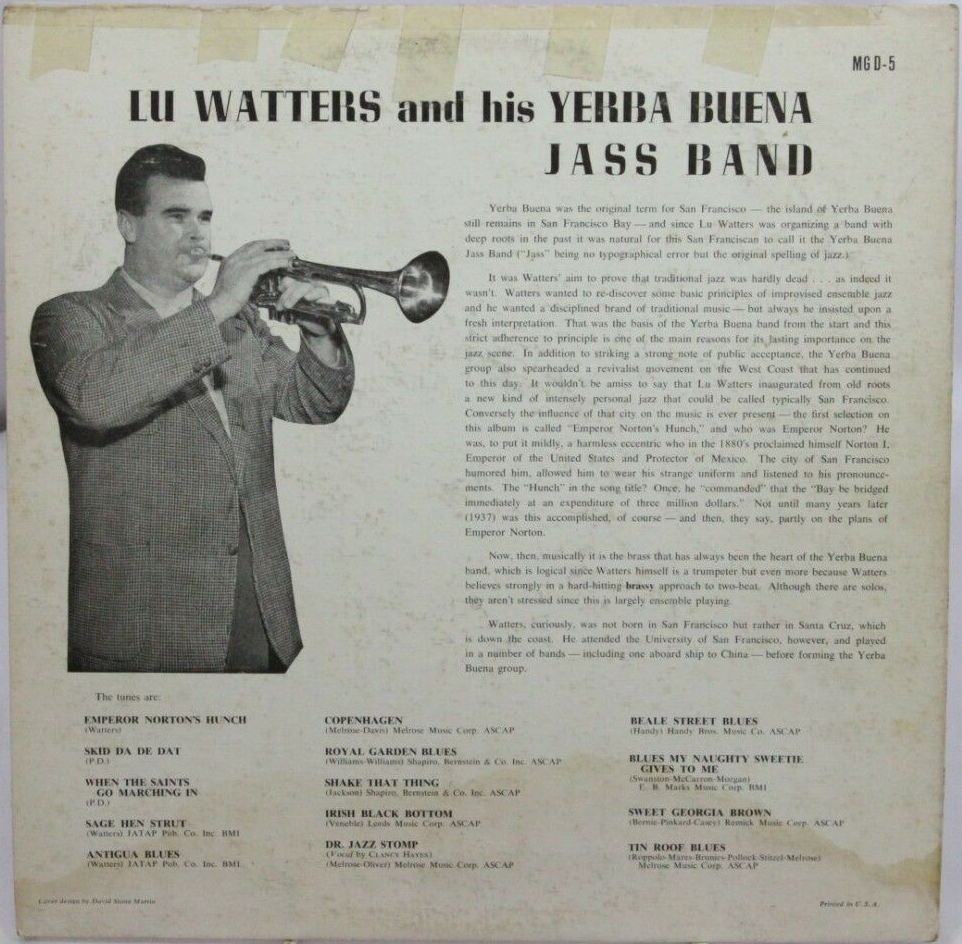 Back cover of  Lu Watters and his Yerba Buena Jass Band  (MG D-5), Down Home Records, 1956.   Detail . Front cover  here . Source:  eBay .