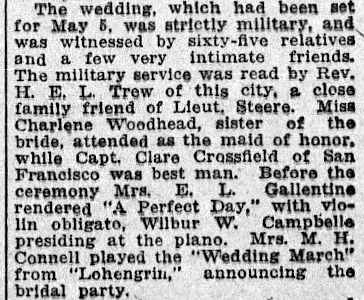 Excerpt from notice for Steere-Woodhead wedding,  Los Angeles Times , 3 May 1914, p.42  (pdf of full page  here ). Source: Newspapers.com.