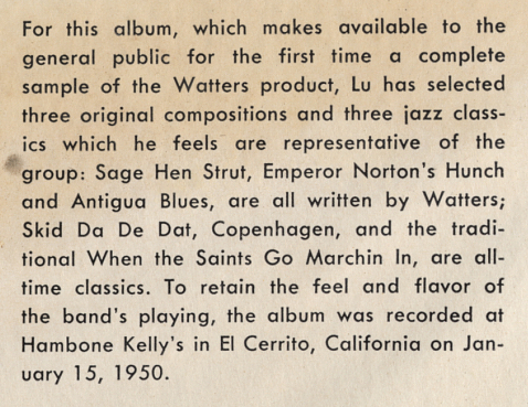 "Detail from descriptive feature on the inside cover of the triple-78-single box-set ""album""  Lu Watters Jazz  (Mercury C-103), Mercury Records, 1950.  Full inside cover  here . Front cover  here . Source:  Smithsonian / National Museum of American History ."