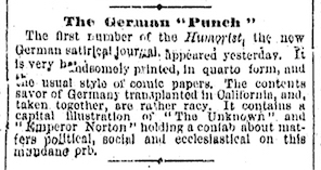 """The German 'Punch,'"" item in the  San Francisco Chronicle , 18 June 1871, p. 3.  Source: San Francisco Public Library. (For an image of the original full page, click  here .)"