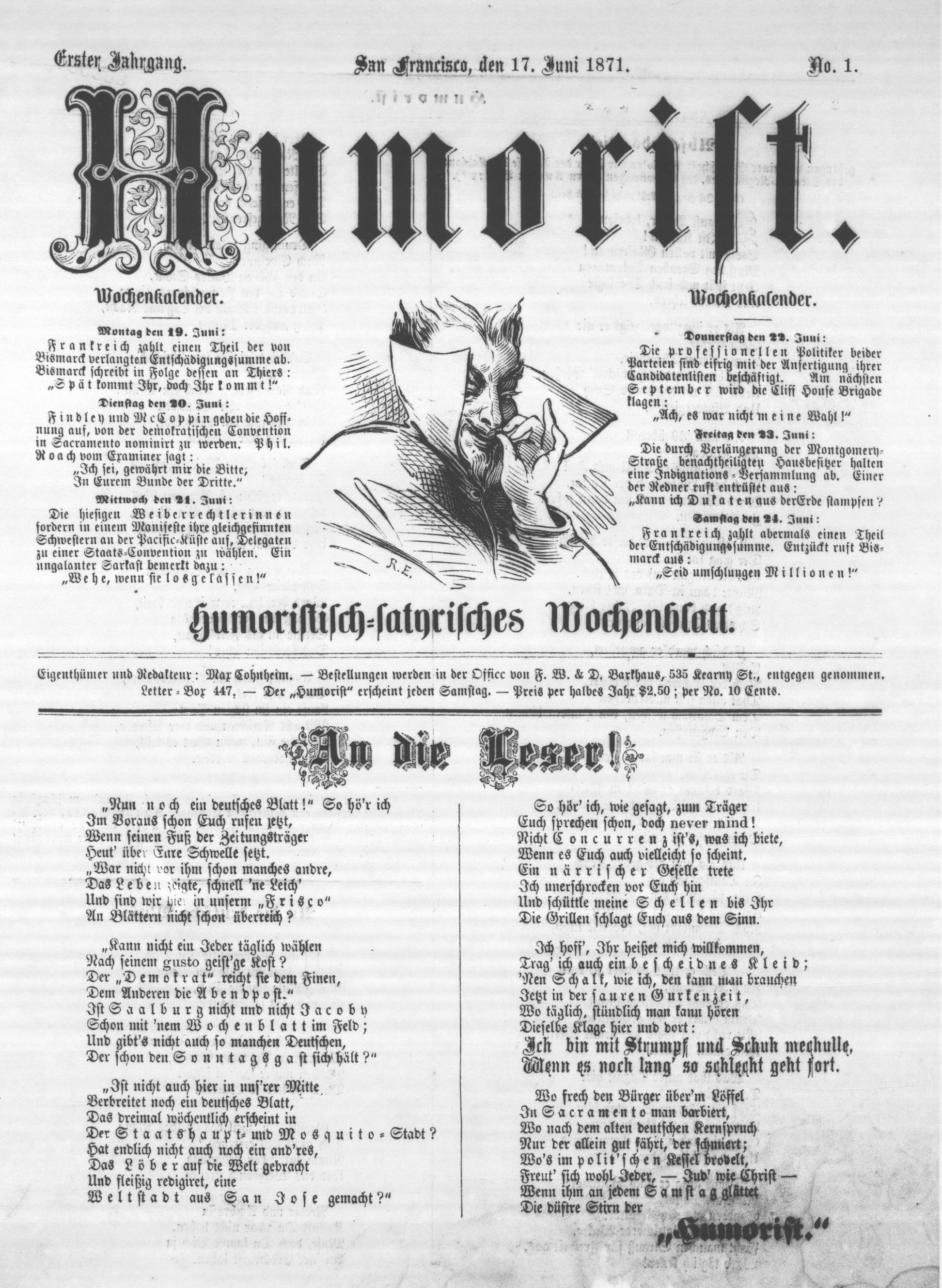 Cover of the debut issue of the San Francisco  Humorist , 17 June 1871.  From a photostat copy in the collection of the American Antiquarian Society (AAS). Source: AAS. (For a PDF of the full issue, click  here .)
