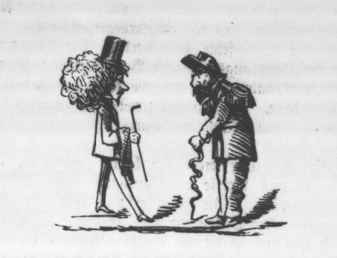 Cartoon illustration of Emperor Norton (right) and the Great Unknown, from the debut issue of the San Francisco  Humorist , 17 June 1871, p. 5.  From a photostat copy in the collection of the American Antiquarian Society (AAS). Source: AAS.