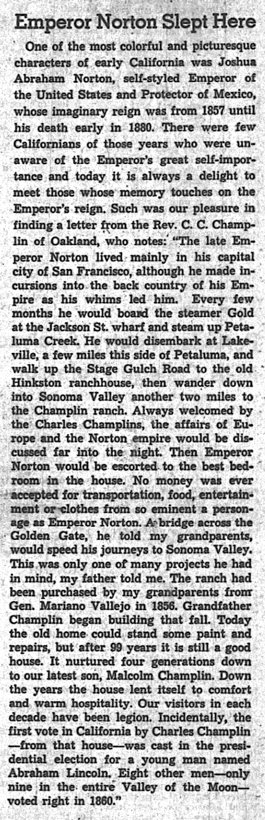 """Emperor Norton Slept Here,""   Oakland Tribune , 20 February 1955, p.59, col. 5. (For a view of the entire original page, click  here .) Source: Newspapers.com"