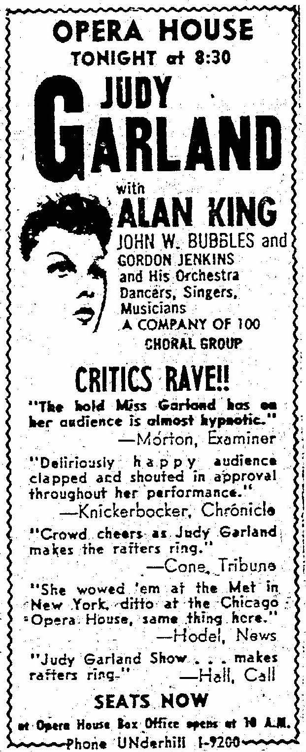 Ad for Judy Garland at the War Memorial Opera House ,  San Francisco Chronicle , 4 July 1959, p.11. Source: San Francisco Public Library.