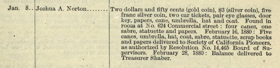 Listing for Joshua A. Norton in Coroner's Report (Property of Deceased Persons), in  San Francisco Municipal Reports  for the Fiscal Year 1879–1880 , p. 381. See original  here . Collection of the San Francisco Public Library. Source: Internet Archive.