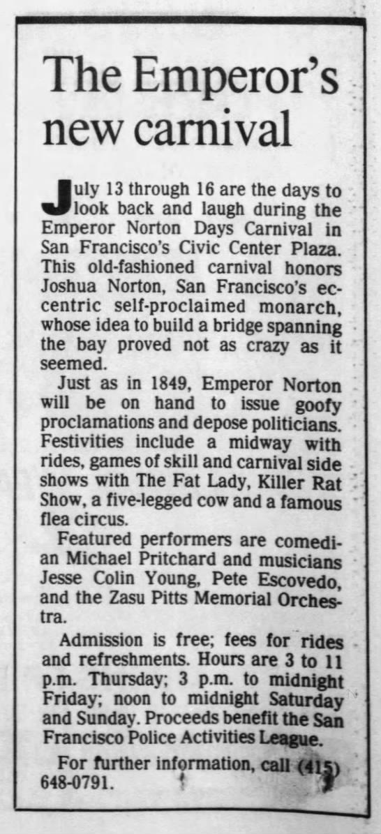 """""""The Emperor's new carnival,""""  Santa Rosa Press Democrat , 6 July 1989.  Source: Newspapers.com"""