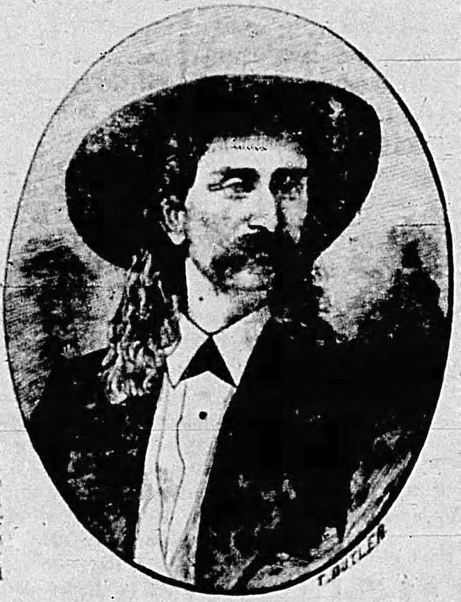 Engraving of  J.J. McBride a.k.a. The King of Pain  from advertisement in the  Press and Daily Dakotaian , 11 November 1876, p. 2. Image of ad  here . Source: Newspapers.com