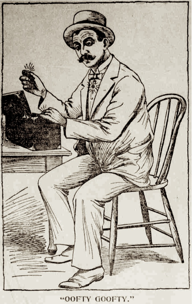 "Sometime in the 1890s,  Leonard Borchardt a.k.a. Oofty Goofty  took up a side hustle selling rhinestones and fake diamonds, which provided a source of income and became a sartorial trademark. Drawing is from a profile of Oofty, ""Odd Characters in Houston. (No. 4.),""  Houston Daily Post , 10 August 1900, p.8. Source: Newspapers.com"