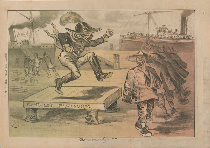"""""""Chineemushgo,"""" cartoon by George Frederick Keller (1846–1927).   The San Francisco Illustrated Wasp  , 26 July 1879. Source:  Virtual Museum of Early and Native California ."""