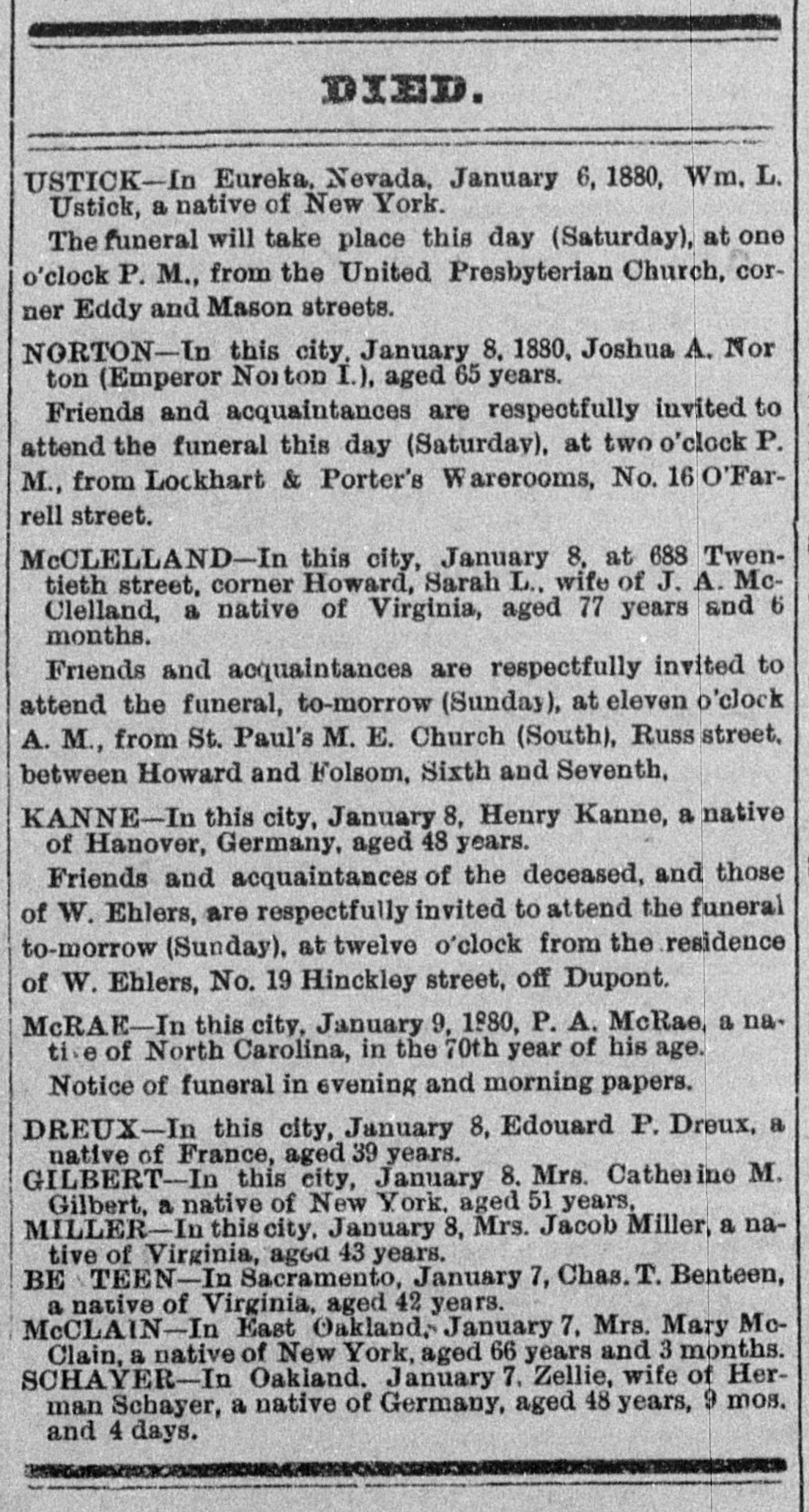 Death and funeral notices ,  Daily Alta California , 10 January 1880. Source:  California Digital Newspaper Collection .