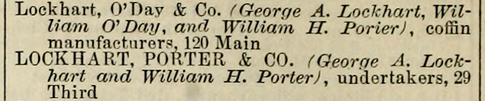 Listings for Lockhart, O'Day & Co and Lockhart, Porter & Co. ,  San Francisco Directory , Henry G. Langley, 1874, p. 410. Source:  Internet Archive .
