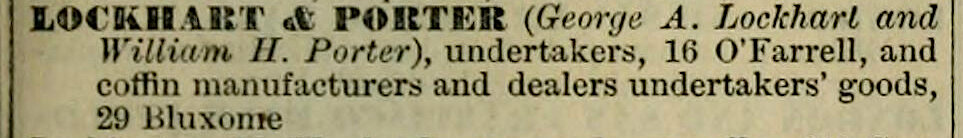 Listing for Lockhart & Porter ,  San Francisco Directory , Henry G. Langley, 1876, p. 505. Source:  Internet Archive .