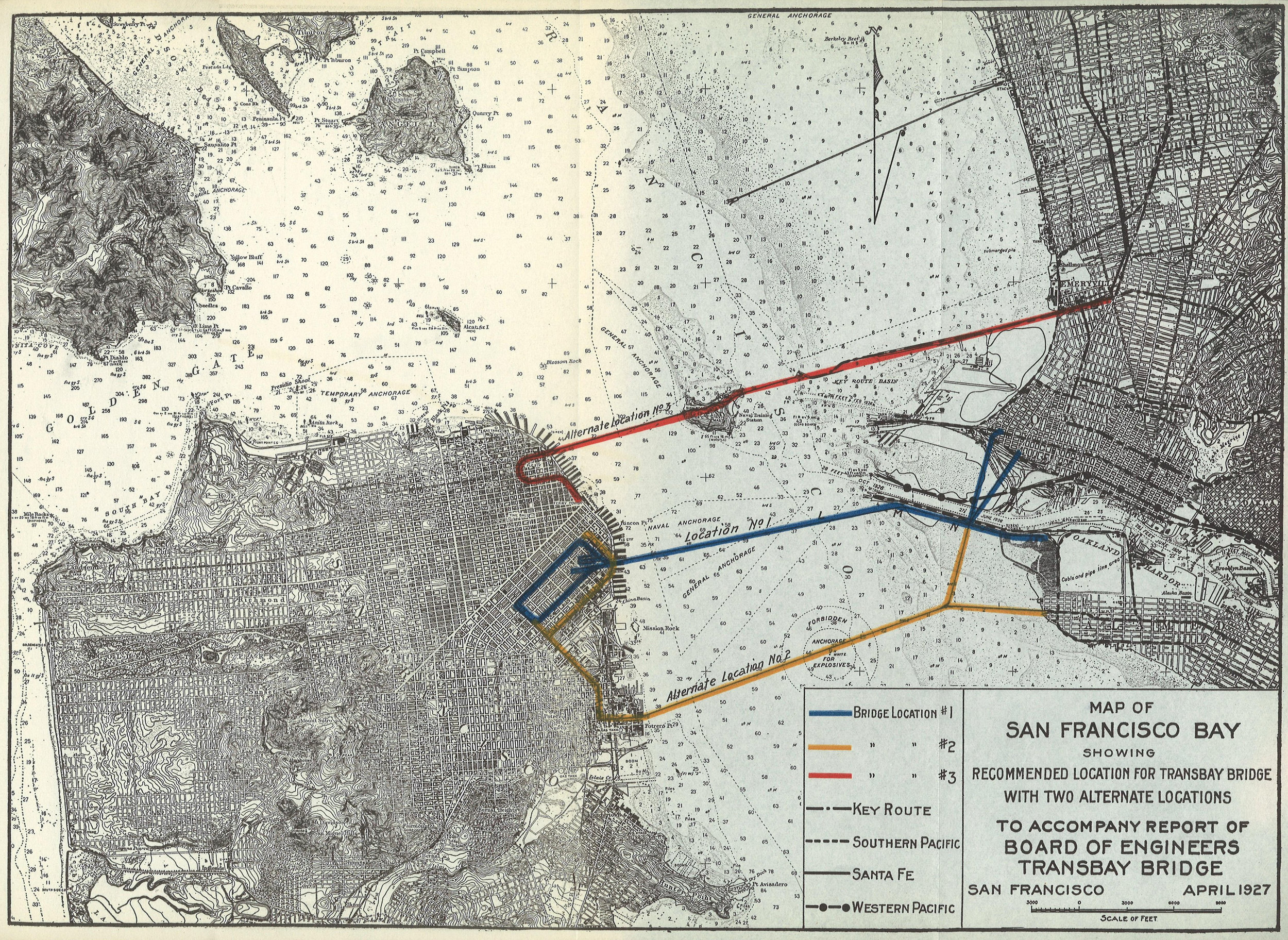 Map of San Francisco Bay Showing Recommended Location for Transbay Bridge with Two Alternate Locations, April 1927.   Report of the Bureau of Engineering of the Department of Public Works, City and County of San Francisco (Fiscal Year Ending June 30, 1927) , insert between pages 18 and 19. Map source:  Internet Archive . Image source:  Found SF .