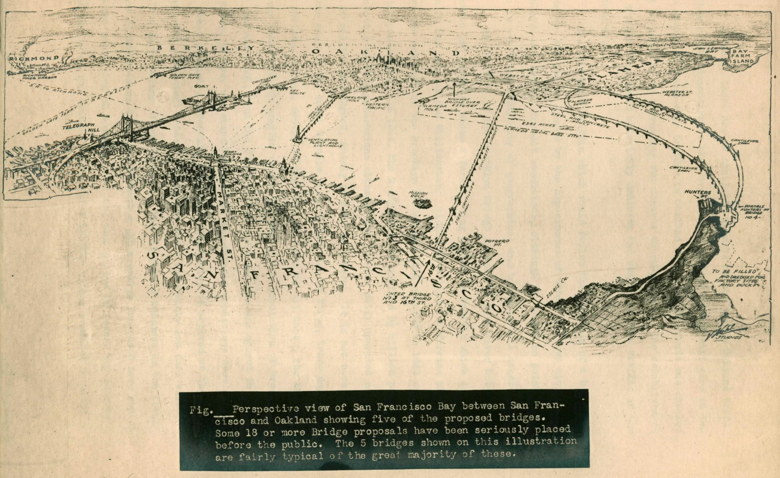 Perspective view of San Francisco Bay between San Francisco and Oakland showing five of the proposed bridges .  The Traffic Ring Boulevard: A factor in solving the traffic problem in Oakland  (1926). Source:  Eric Fischer .