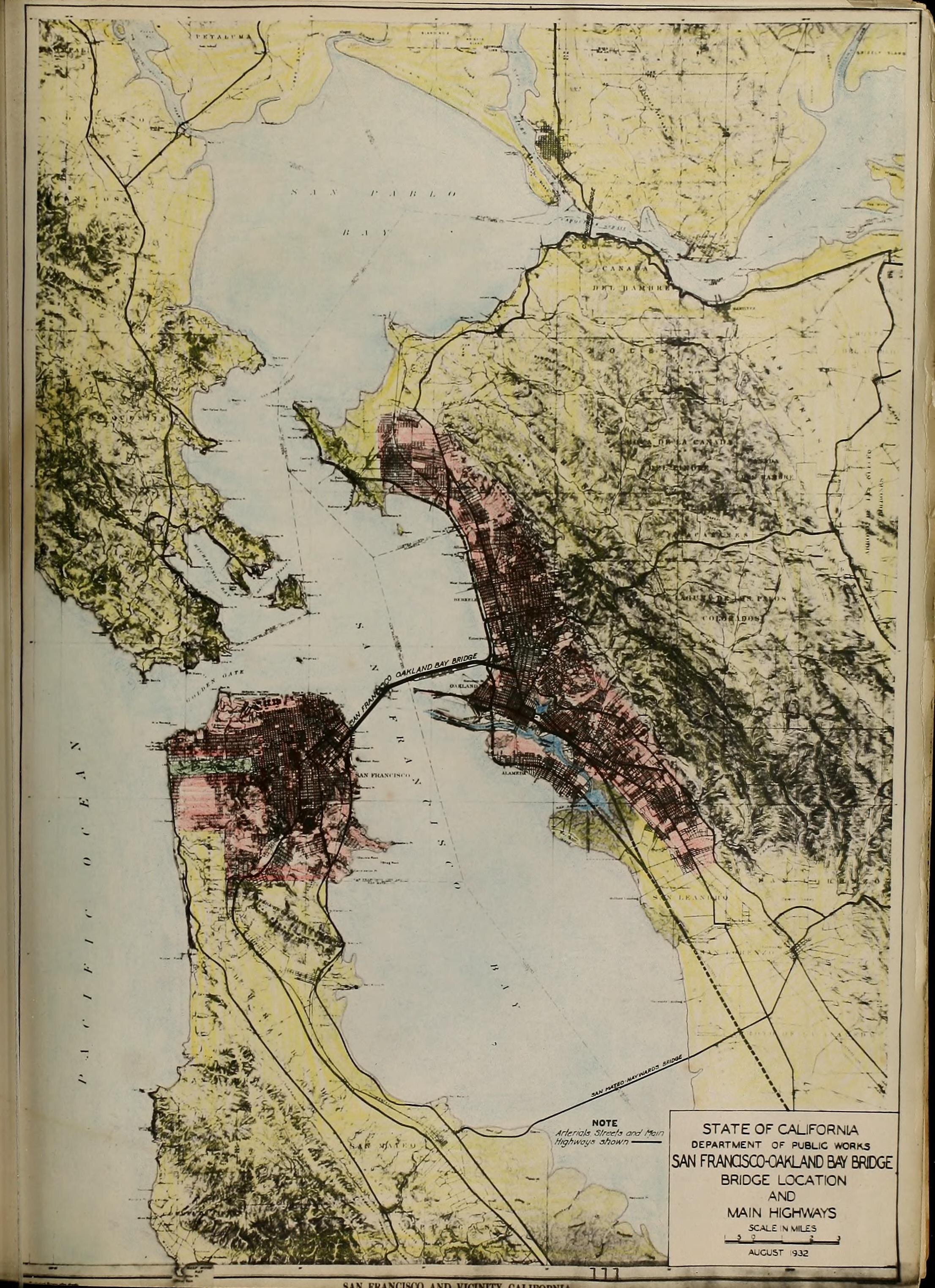 San Francisco-Oakland Bay Bridge, Bridge Location (map).   San Francisco-Oakland Bay Bridge: Report to the California Toll Bridge Authority , State of California Department of Public Works, August 1932, p. 111. Source:  Internet Archive .