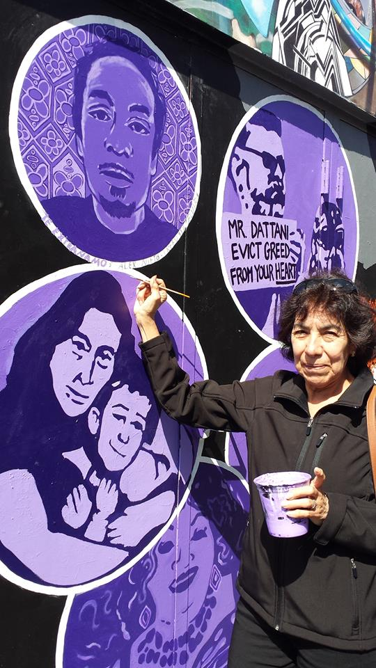 Elvira Nieto painting her son Alex's portrait