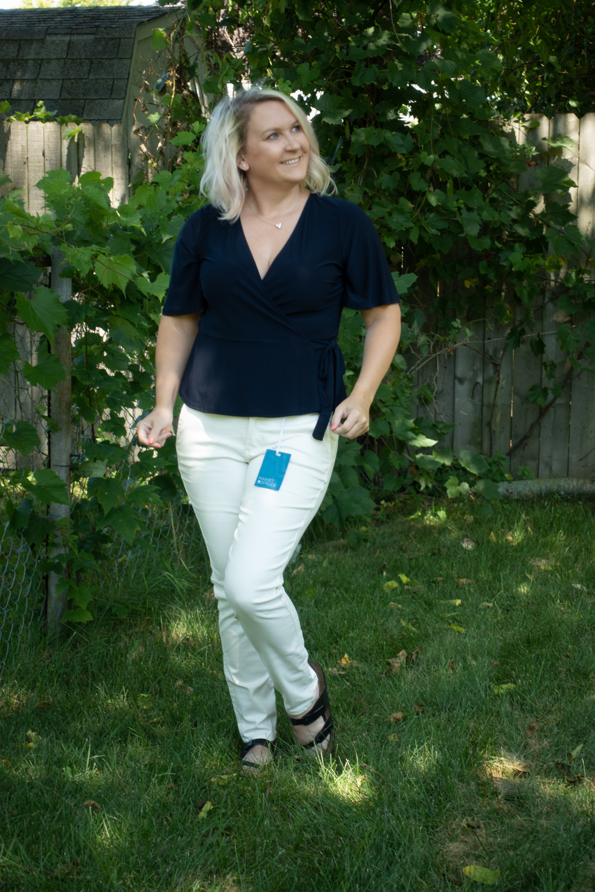 - White pants with a navy top from my first box!