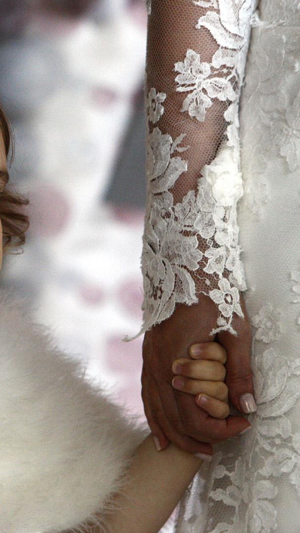 Hand appliqued lace edges