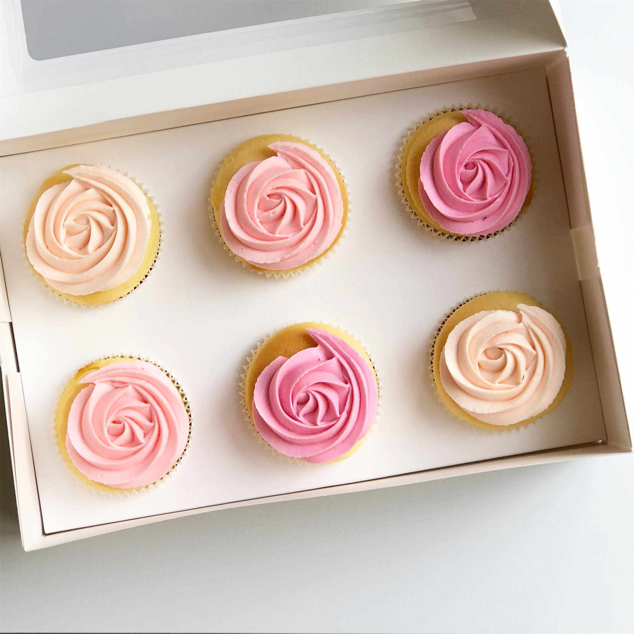 Vanilla Rosette Cupcakes In Shades Of Pink 6 Pack Pre Order Burnt Butter Cakes