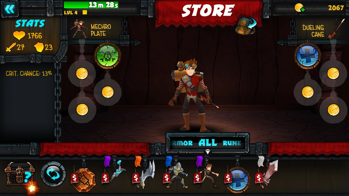 Your inventory system to upgrade armor, weapons and runes.