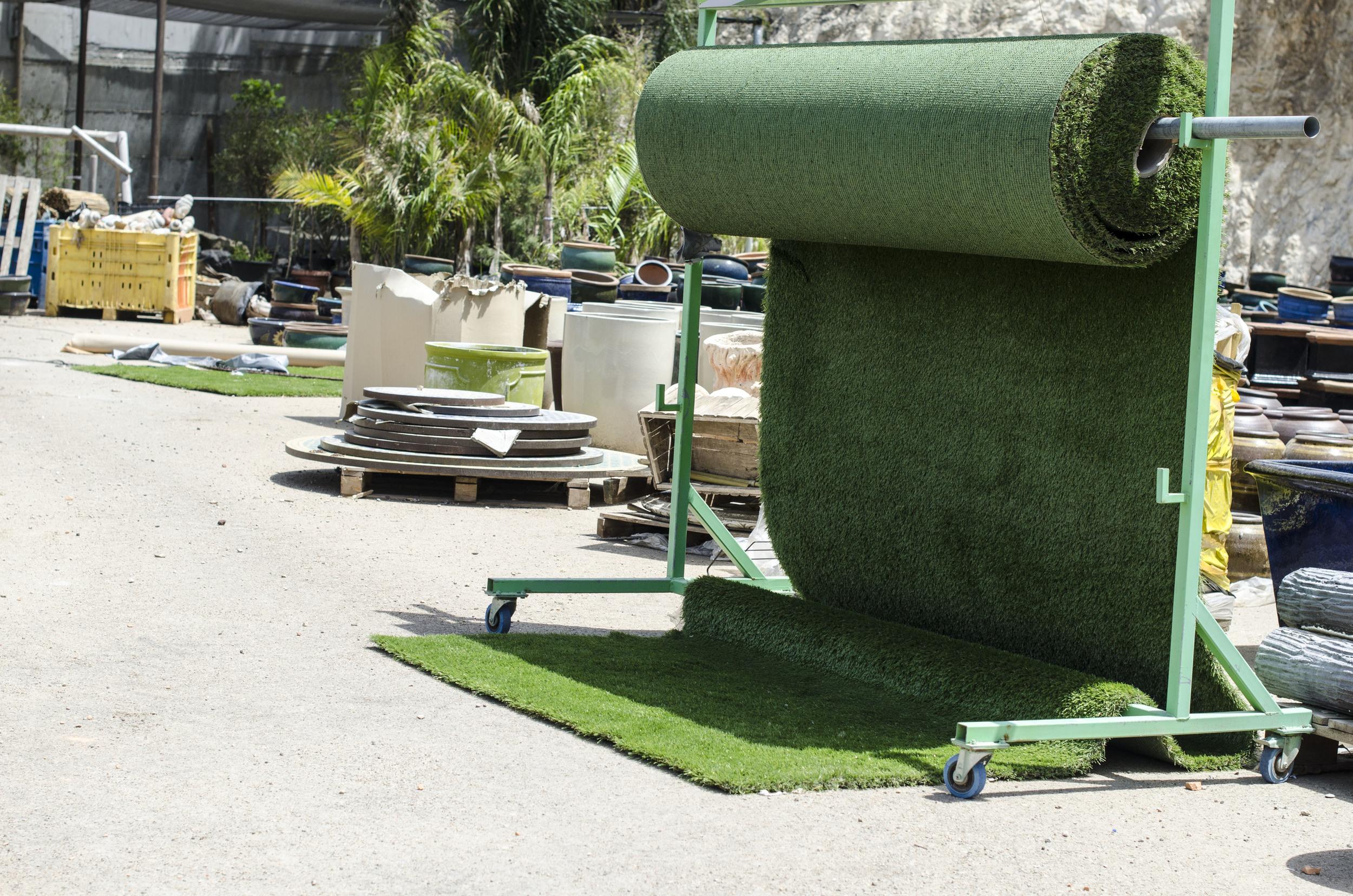 Fake green grass.