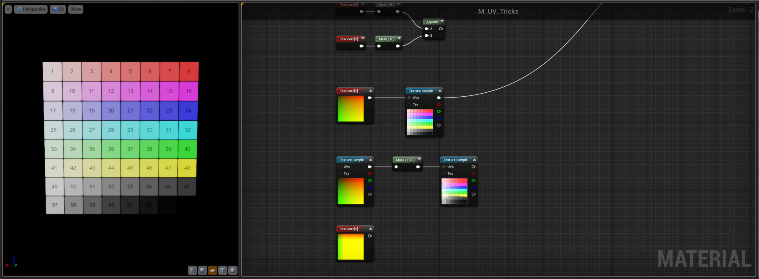 Here we're just using the UV node as most of you will already know how - plugging it into a Texture Sample. Unreal automatically assumes default UV values if this node isn't connected so you may never have needed to connect like this before.