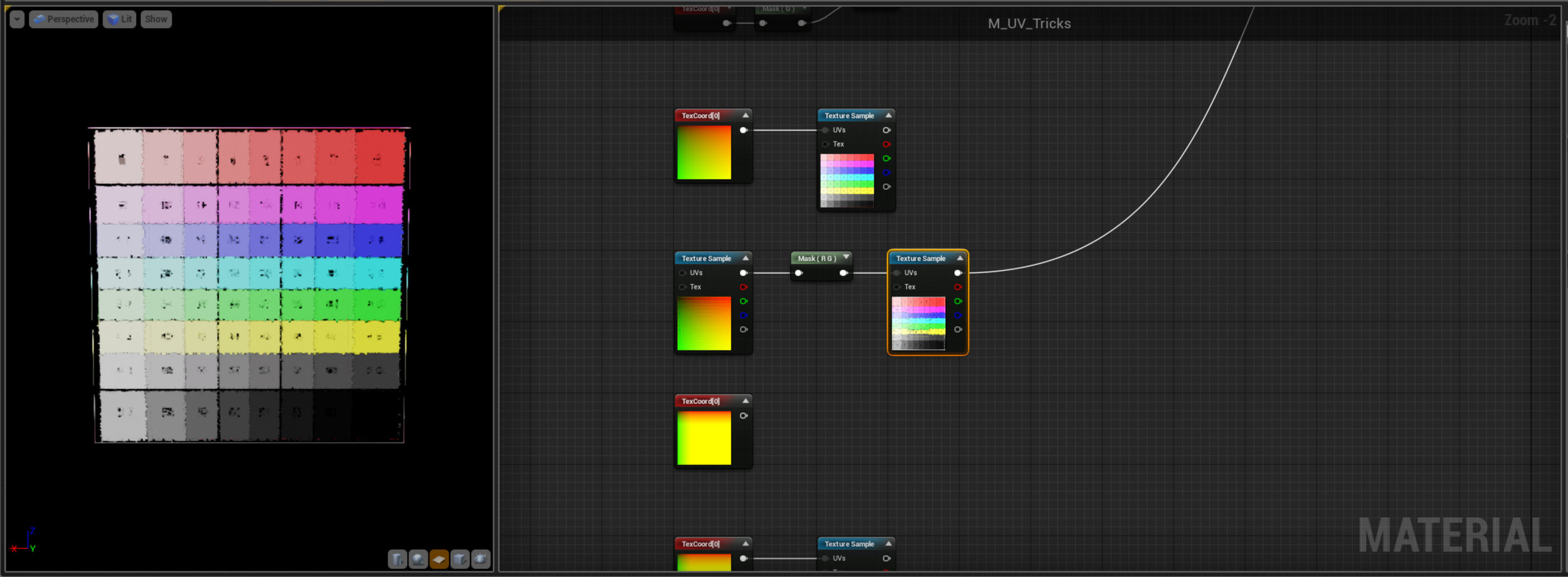Notice here that we've used a Texture Sample, and masked it to a Vector2, instead of a UV layout. It's just two gradients I've created in Photoshop but we're getting a really noisey result - so what gives? Basically compression is the issue here - Textures in Unreal are compressed to save memory but UV's are very sensitive to change so we're seeing those compression artifacts. Note if you just want a gradient it's cheaper and more accurate to mask a UV sample rather than importing a texture, you might remember I used this technique in the Math examples.
