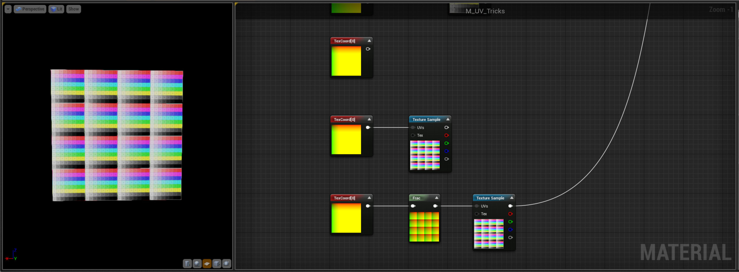 These next three nodes are just showing how Tiling works - All the UV nodes are setup with a Tiling of 4,4. Notice when the first Node is connected you're seeing a lot of blooming Yellow, this might remind you of something from the Math example - Unreal is trying to display numbers over 1, so if we Frac it down we can see the gradient is repeating over the layout. Note the whole number part of a UV layout is totally ignored, only the fractional part is relevant. This is the reason that textures tile.