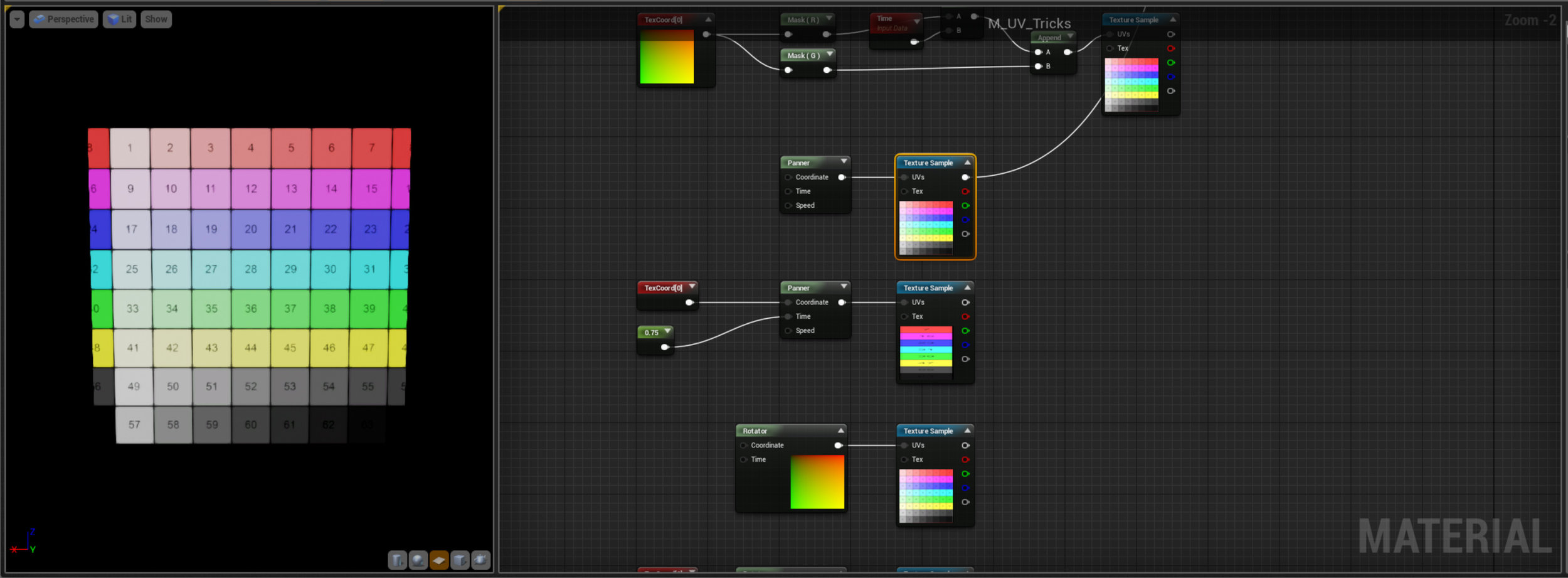 So what we've created here is what Unreal refers to as a Panner node - but it's basically doing the same thing, just moving the UV's over time by adding values to the U and V channel.  Notice that if we plug a constant value into the Time input of the Panner we get control over the movement without any scrolling, useful to directly control your material offsets.