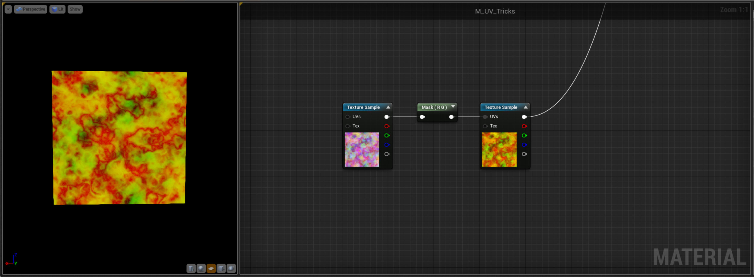 Here we're plugging a texture, masked to a Vec2, into our fake UV layout from earlier - so what's happening. Well if you remember the Black and White values of a UV layout are just a lookup table. So here the Black and White Vec2 mask we're using is just being remapped to the colours of the second texture - exactly like the Gradient feature works in Photoshop. This is super useful for things like Fire where we can use lots of different black and white masks to create our shape and motion and then use the same gradient on all our fires to ensure a consistent colour and allow for quick and easy editing.
