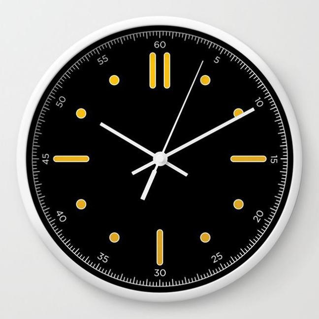 wall clock daniele tottle Nautilo black yellow.jpg