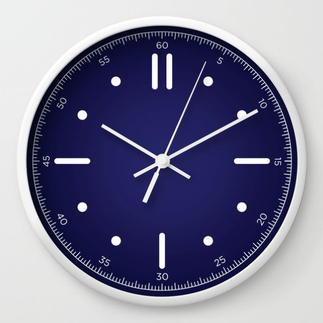 wall clock daniele tottle Nautilo sunburst blue.jpg