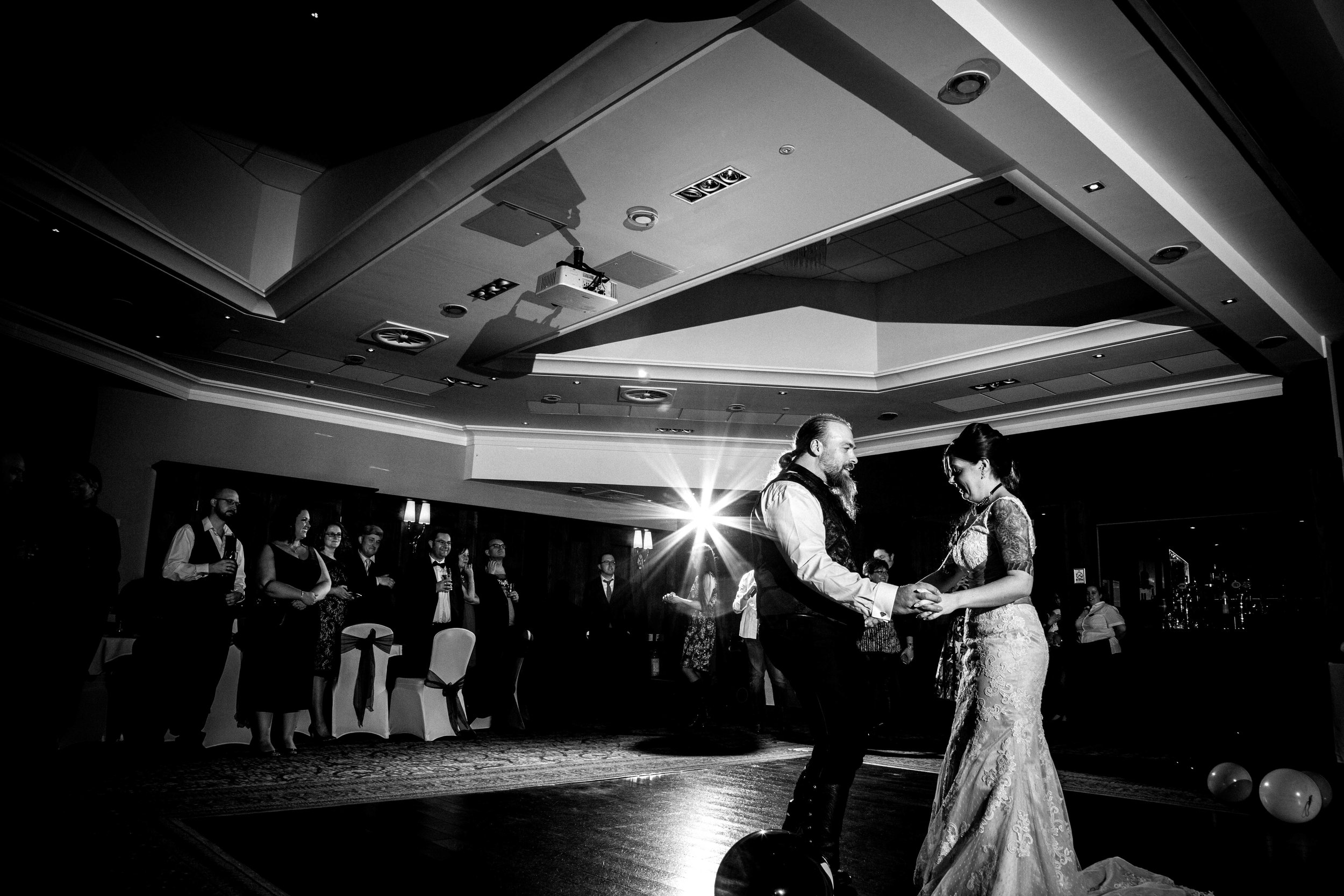 Alternative and modern wedding first dance at Drayton Manor Park