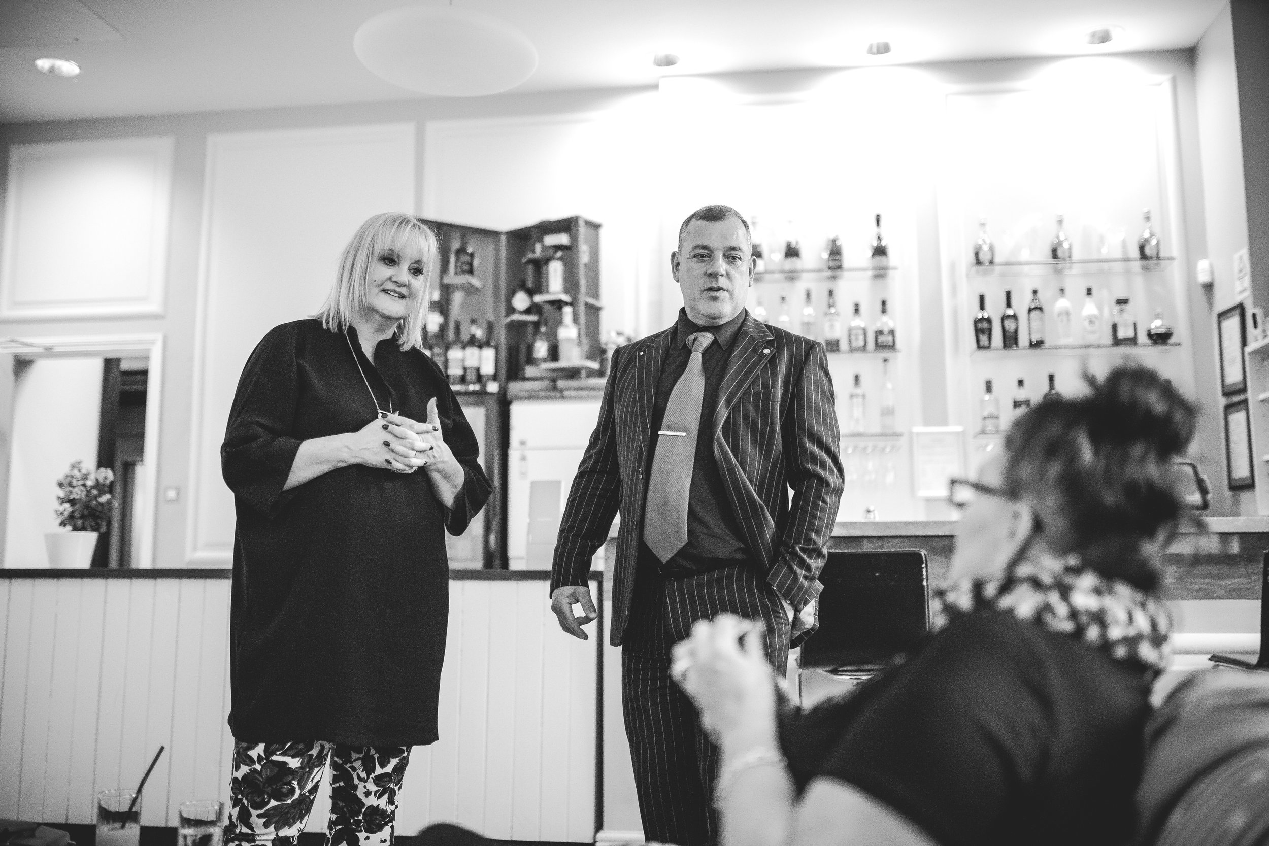 Tracy, our supreme leader and Steve, magician and mind bender talking to Tina Redding of  Ultimate Wedding Magazine