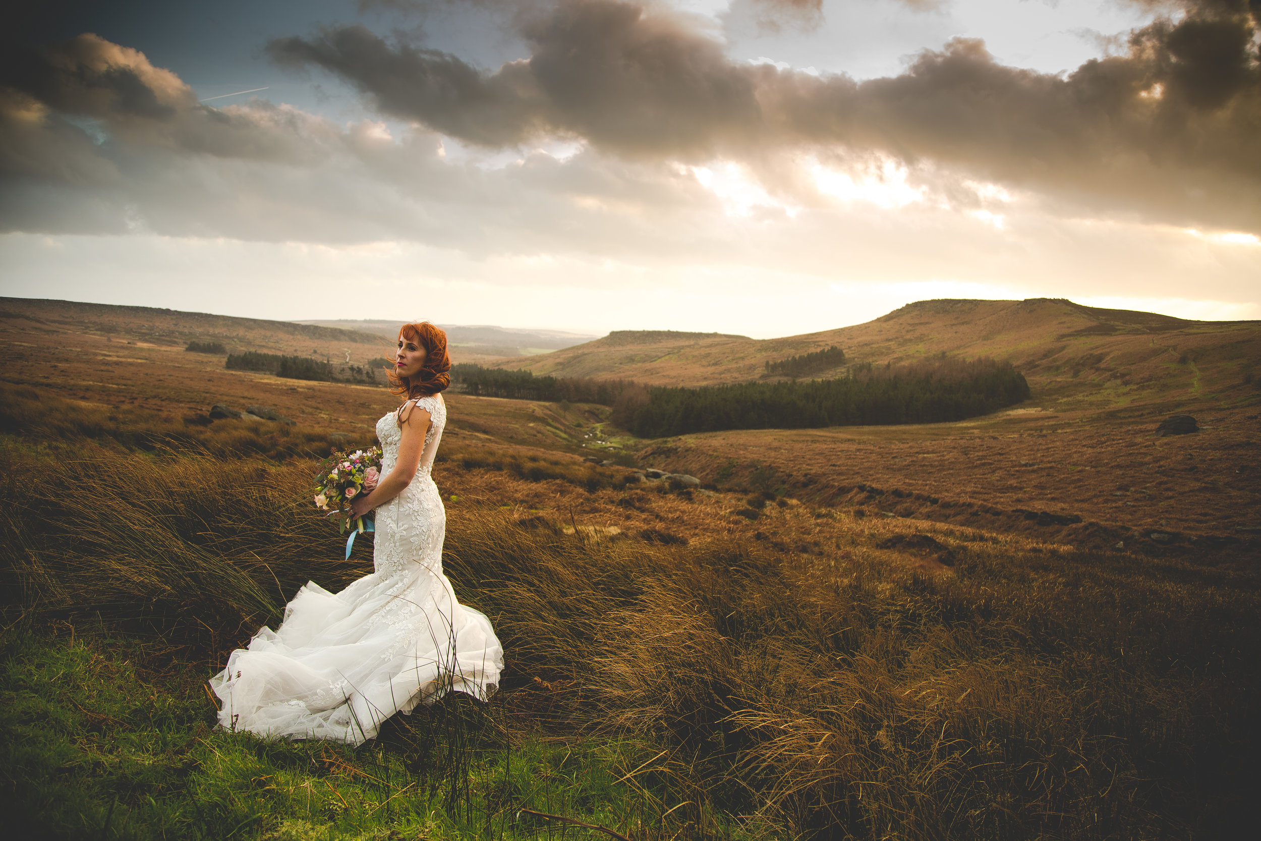 Captured on the Sheffield Moors purely to get that Fine Art Wedding Photography look. The light, the landscape, the pose….illustrates it perfectly