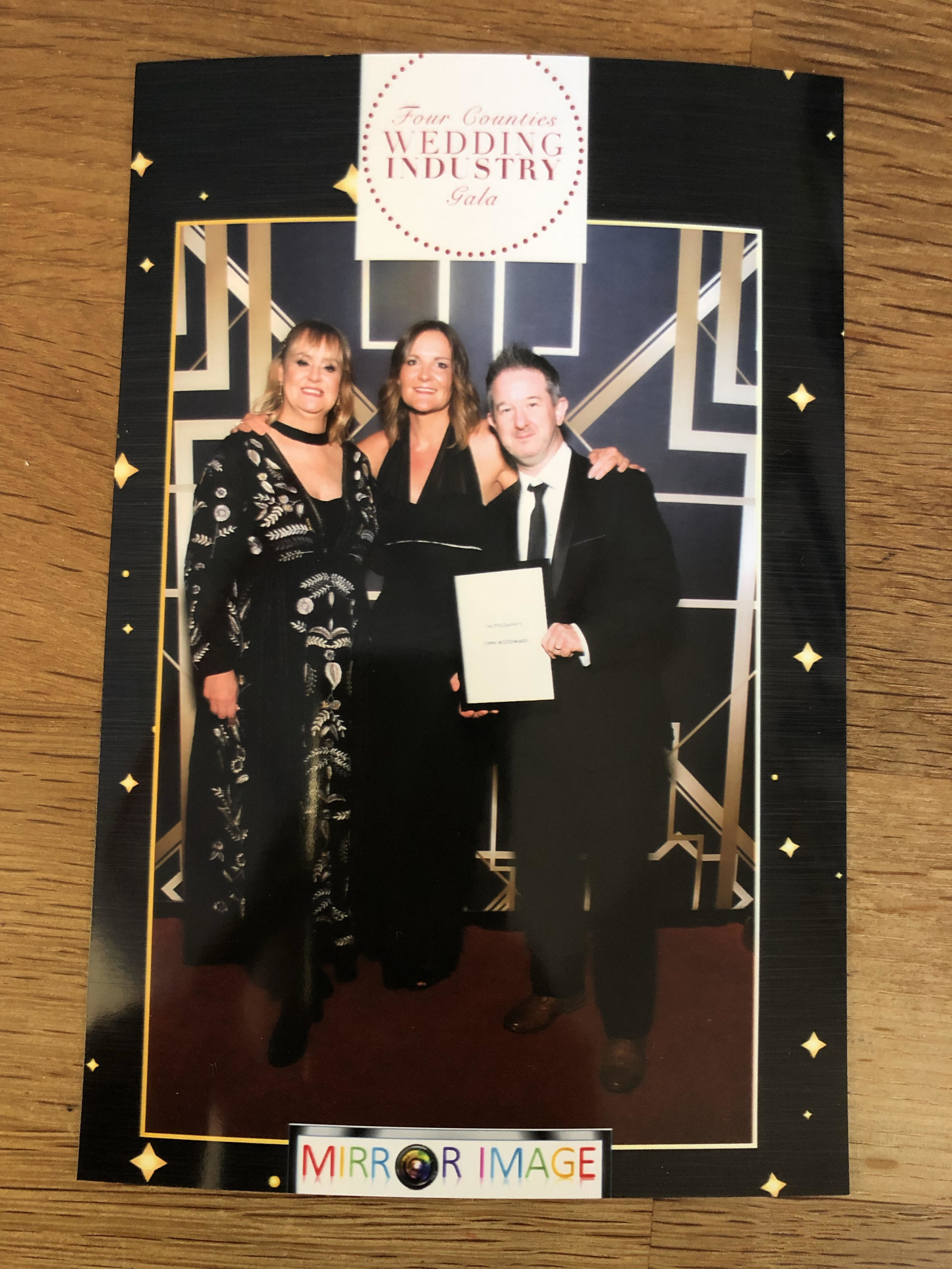 Left  Tracy Butterfield, founder of the Four Counties Wedding Awards and many other things,  Centre  Teresa Brooks of Teresa Brooks Coaching, one of the judging panel  Right  Me!